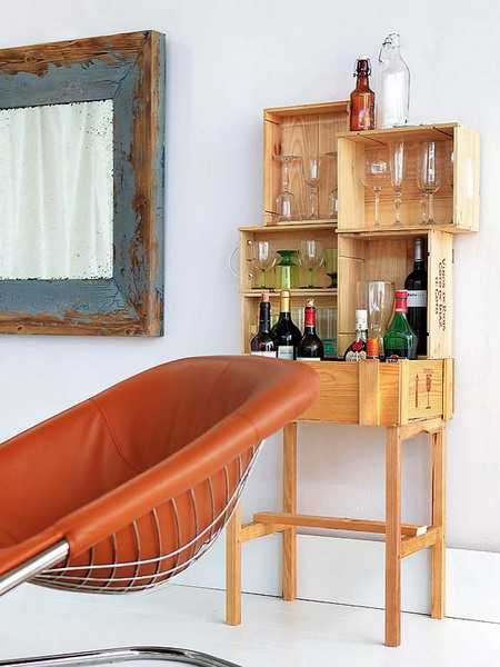 storage furniture made of wooden boxes