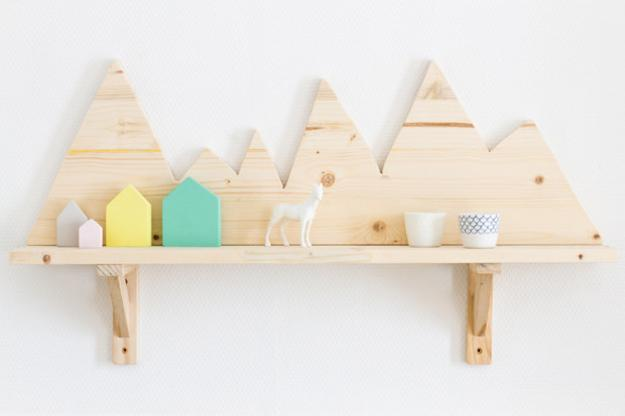wooden wall shelf, diy wall decor ideas