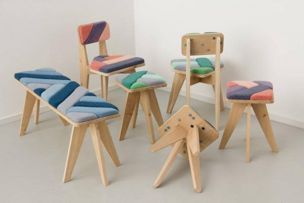 wood furniture, modern chairs, stools and benches with colorful soft cushions