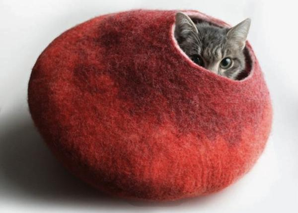 handmade pet beds, felted wool cat bed