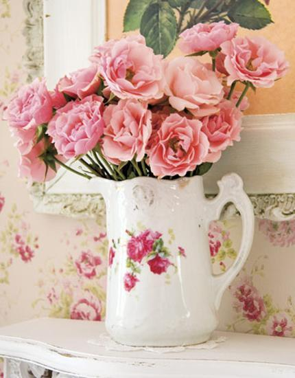 romantic mothers day gifts and ideas, pink flower arrangement in pitcher with roses