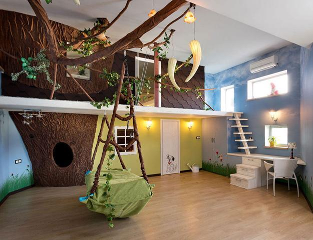 Kids Bed Hanging From A Ceiling