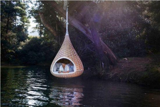 hanging beds inspired by finch bird nests