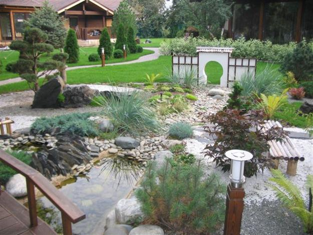 Japanese Garden With Water Fountain