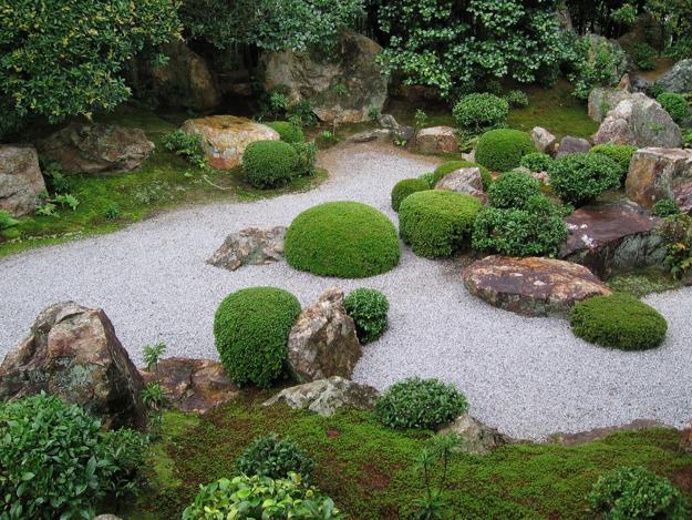 Miniature Japanese Garden Design With Rocks And Green Plants