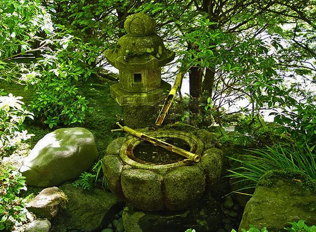 japanese garden with water fountain - Small Japanese Garden