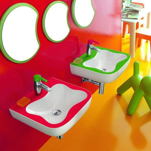 colorful kids bathrooms sinks and fausets