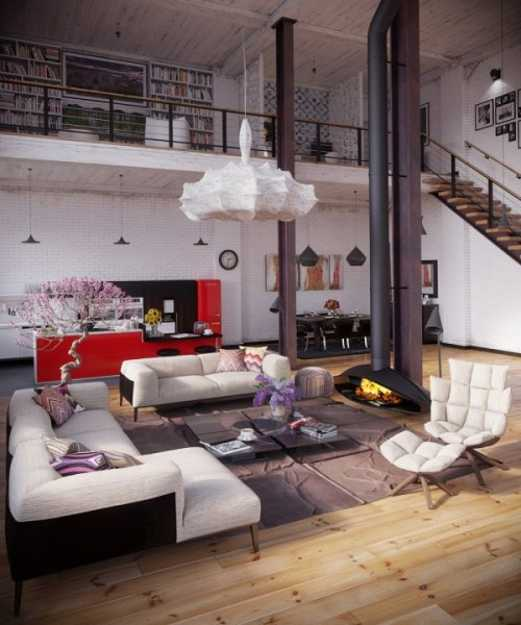 Modern Loft Living Spaces Blending Organic Design And ...