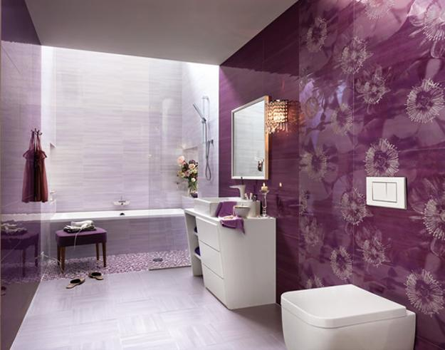 purple flower bathroom wallpaper
