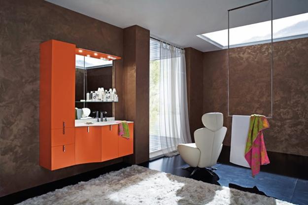 Orange Bathroom Colors, Orange Cabinet With Bathroom Sink And Brown  Wallpaper