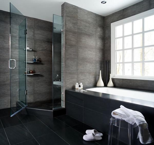 Built In Bathtub With Large Glass Block Window, Modern Bathroom With Glass  Shower Design