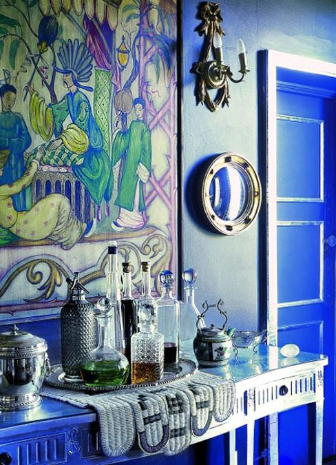 modern interior design and decor with blue and green color hues