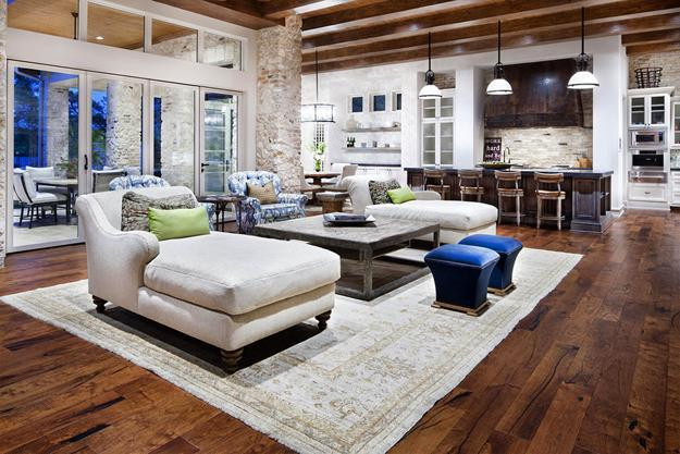 Modern Living Room Design With Wooden Ceiling And Floor Brick Wall Shabby Chic Furniture Decor Accessories