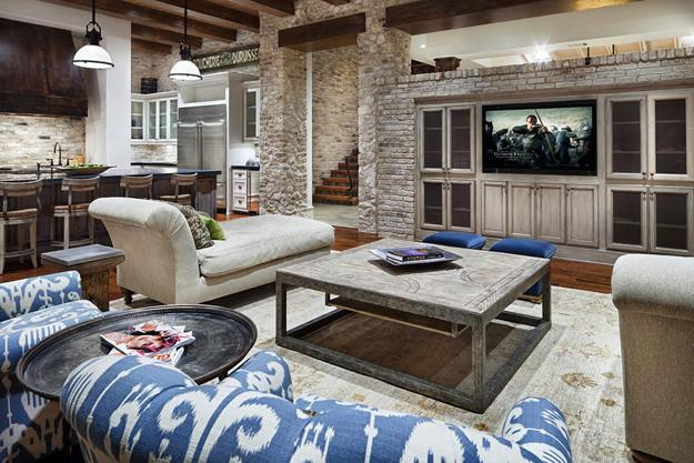 Modern Living Room Design With Brick Walls And Rustic Wood Accents