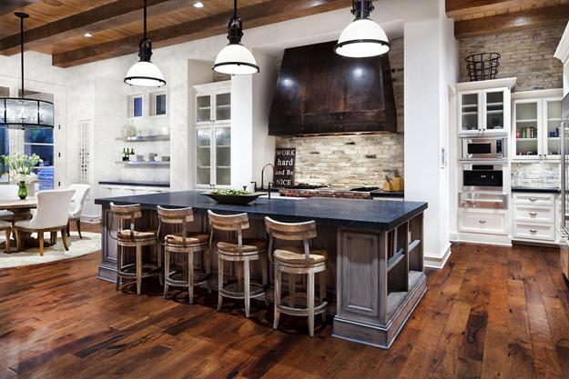 Rustic Wood Kitchen Island Modern Design With Brick Walls