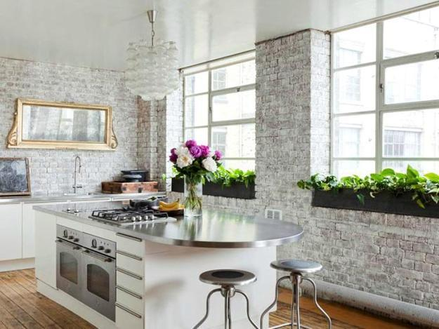 Modern Kitchen Design With White Brick Wall Cabinets And Island