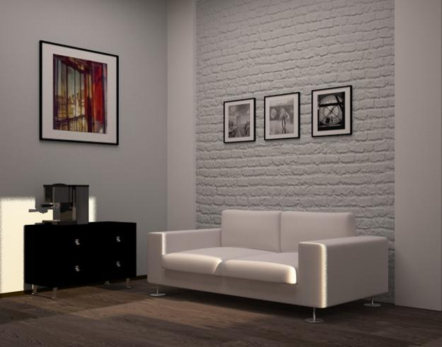 33 modern interior design ideas emphasizing white brick walls - White walls living room ...