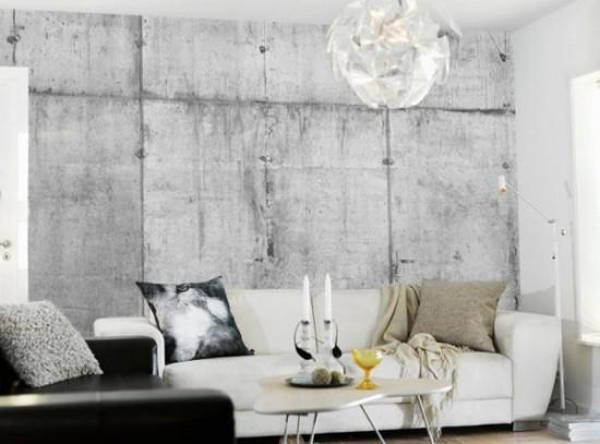 Concrete Wall Design With Modern Wallpaper Patterns