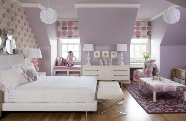 Girls bedroom decorating with pink and purple color shades & Modern Home Decorating Ideas Blending Purple Color into Creative ...