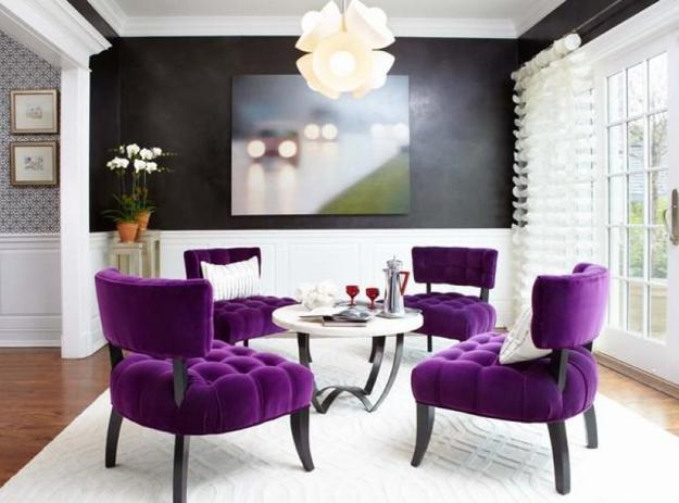 Modern Home Decorating Ideas Blending Purple Color Into Creative Interior Design