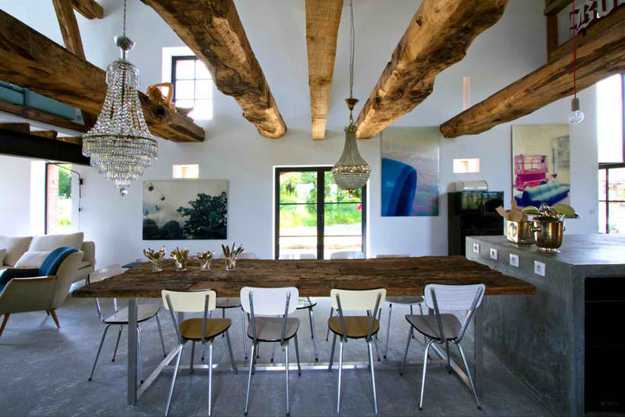 Salvaged Wood Ceiling Beams And Dining Table