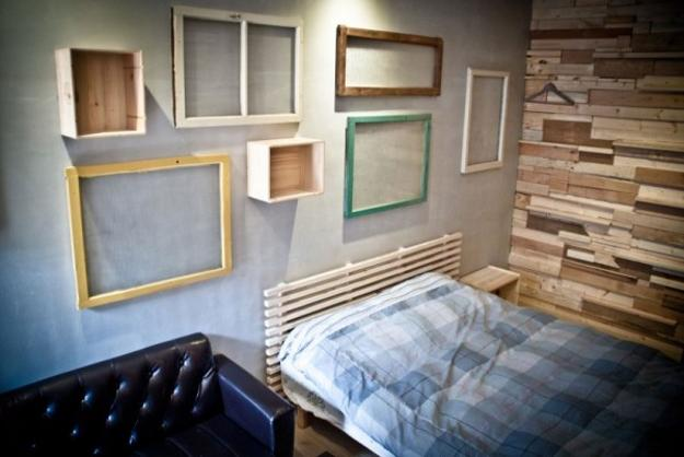 Modern Wall Decor Made Of Salvaged Wood Window Frames And Old Wooden Tables