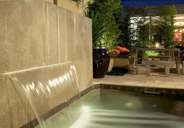 contemporary waterfall and pond, small backyard design