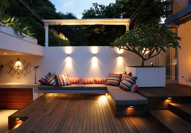 small backyard design with outdoor seating area