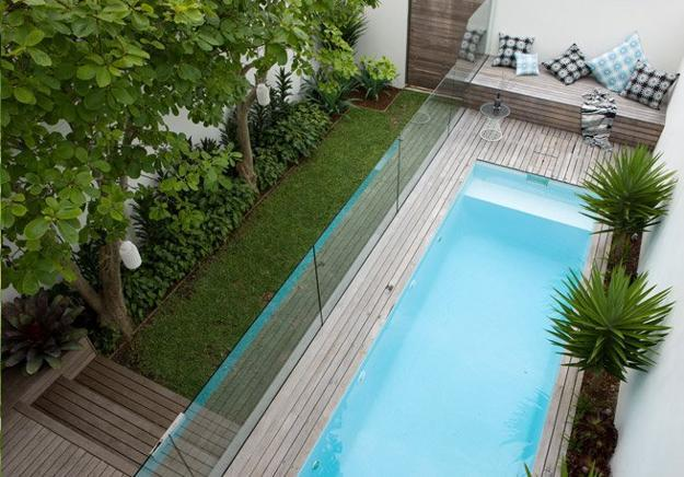 Small Backyard Landscaping Ideas Tiny Green Lawn Wooden Deck And Swimming Pool With Glass Screens