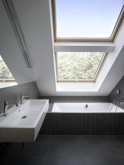 small bathroom design with inclined roof window