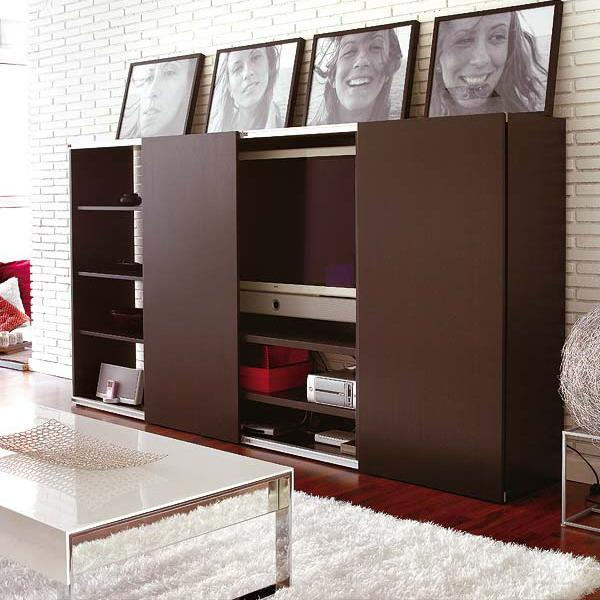 living room furniture with sliding front panels