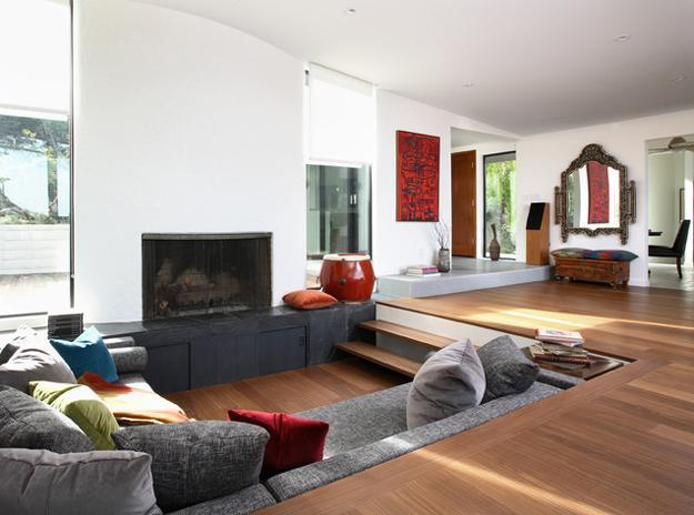 Charmant Cozy Living Room Designs With Fireplaces Defined By Sunken ...