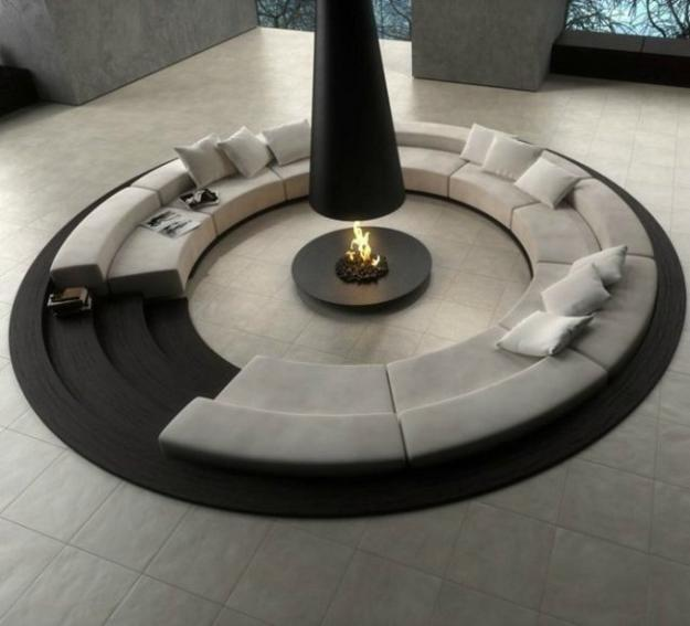 round sunken seating area in black and white