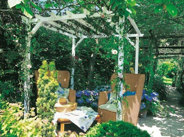 Long term solution for sunshade, beautiful wooden structure and stone patio ideas