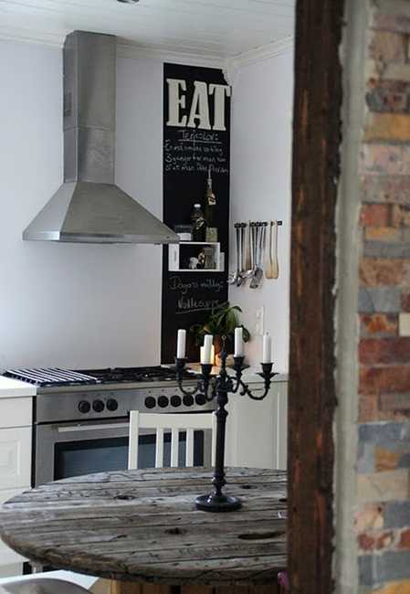 small kitchen design with atainless steel hood