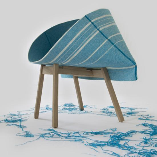 modern chairs with pocket shaped weft sea