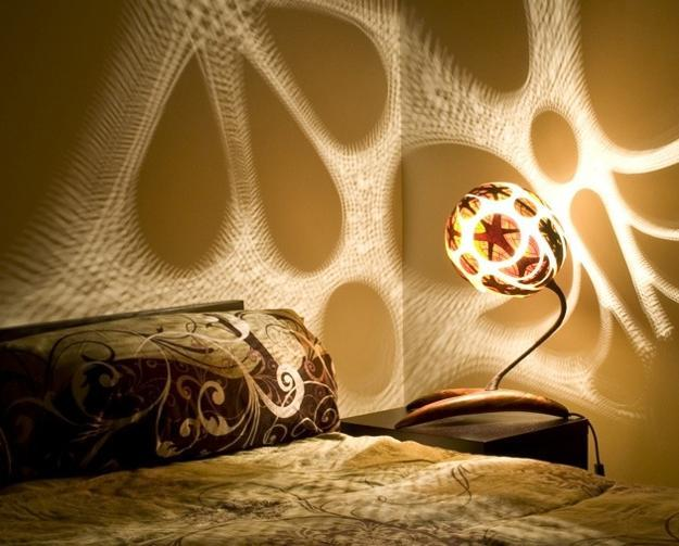 unique lighting design with carved gourd lamp shade