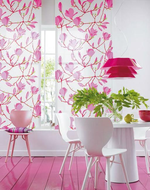 dining room decorating with bright pink color and green indoor plants