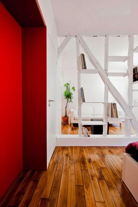 White Apartment Ideas And Red Accent Wall Decorating Small Apartments