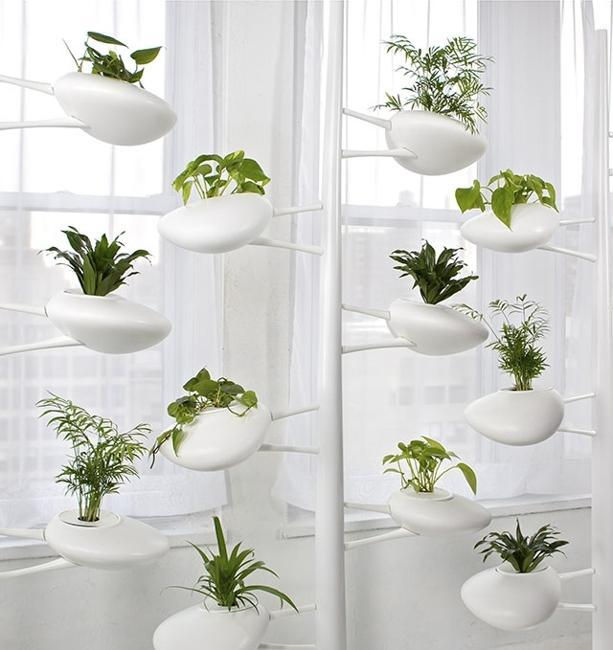 modern interior design with vertical gardens and green home accessories