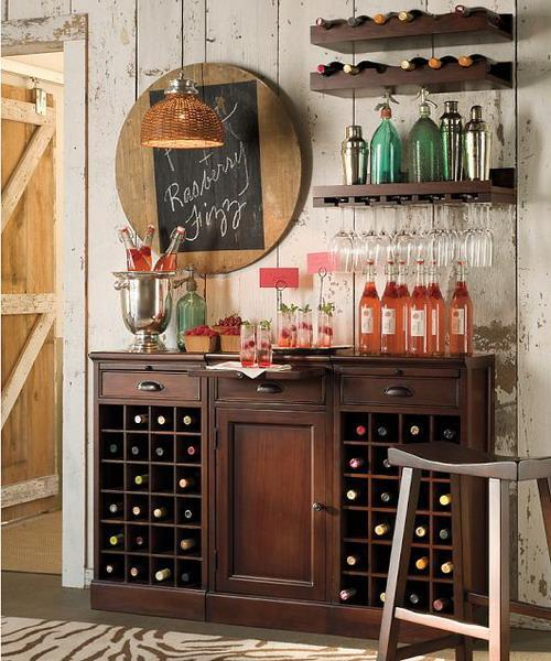 Small Home Bar Design With Wooden Shelves And Creative Wall Decorating Ideas