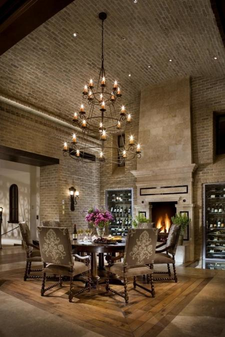 exposed brick wall designs and brick ceilings, modern kitchends and dining rooms