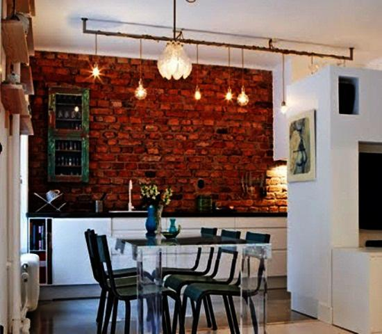 Modern Kitchen And Dining Room With Exposed Brick Wall Open Shelves