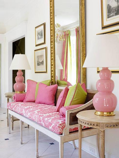 Modern Home Decor In Fresh Green And Light Pink Color Shades