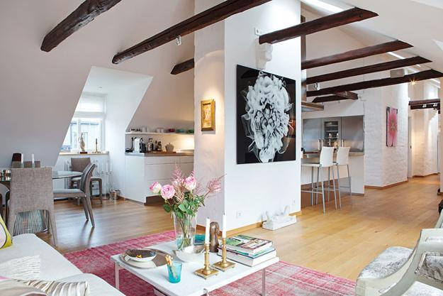interior design and decor with pink and blue color accents