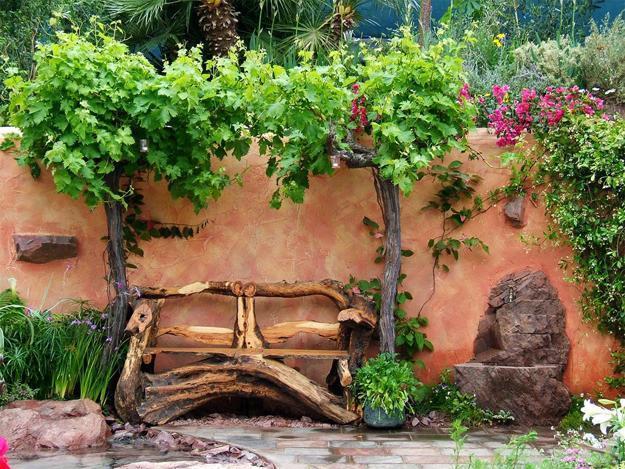 Rustic Backyard Designs handmade garden benches adding rustic vibe to backyard designs