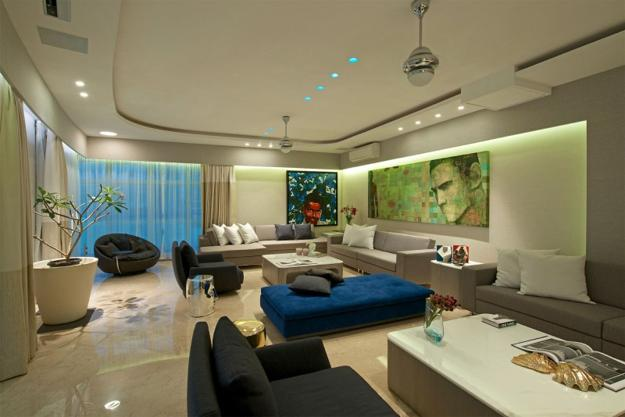 Living Room Design In Contemporary Style With Unique Artworkodern Furniture Neutral Colors And Rich Blue Color