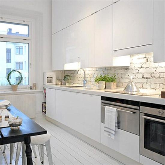 22 White Kitchens That Rock: 25 Modern Kitchens And Interior Brick Wall Design Ideas