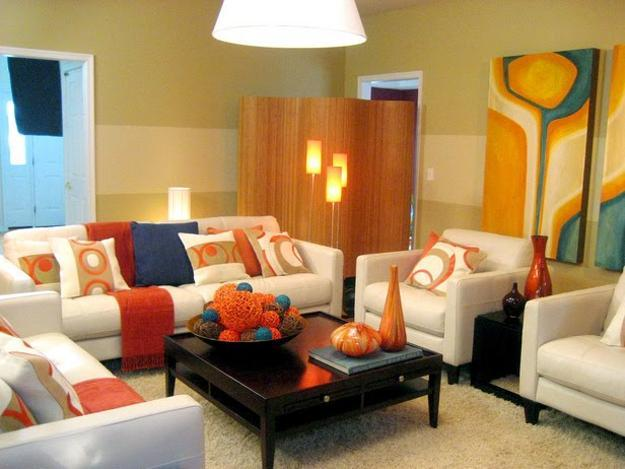 Modern Interior Design And Home Decorating Ideas Light Blue Orange Colors Accentuate Room Decor In White Brown Red