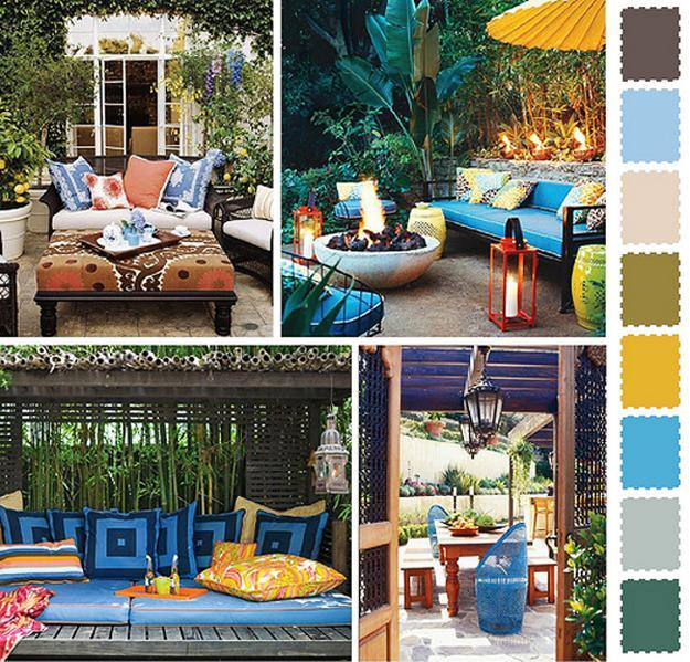 5 Outdoor Home Decorating Color Schemes and Patio Ideas ... on Colorful Patio Ideas id=76674